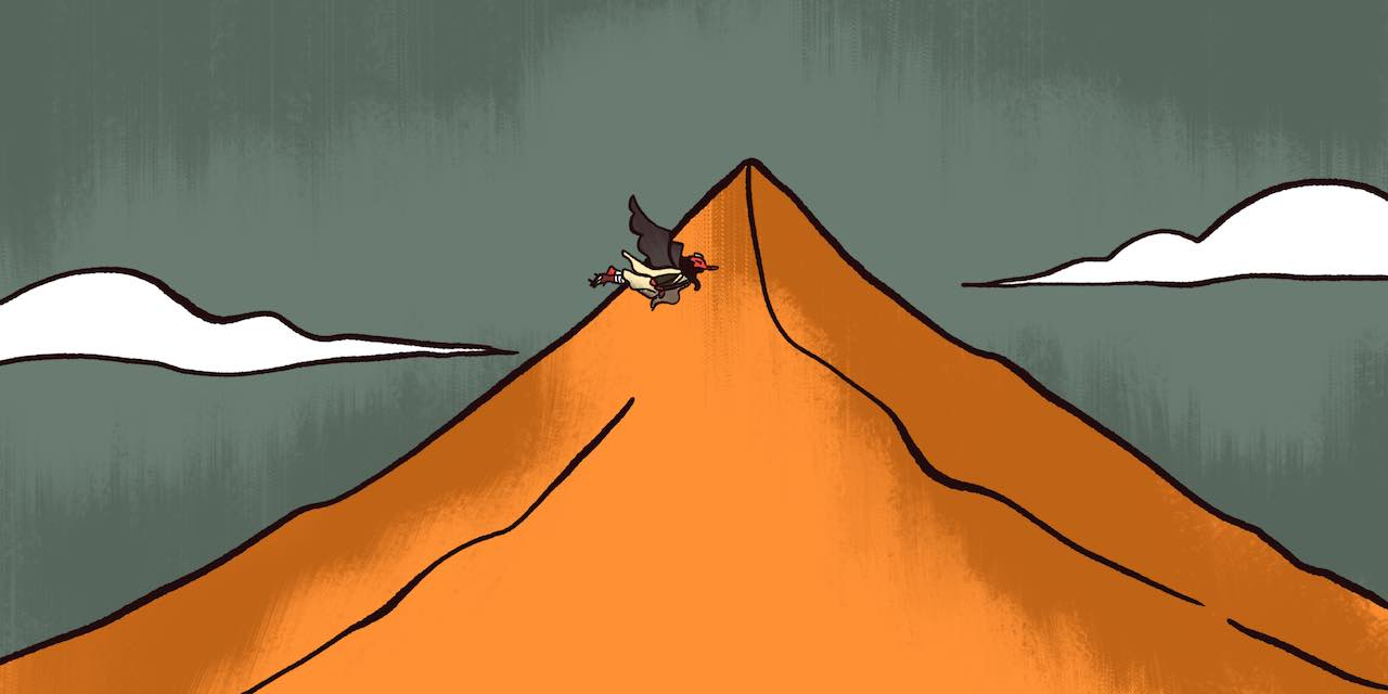Tengu flying around mountain