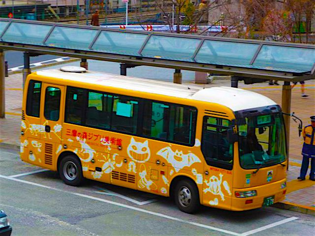 yellow ghibli bus