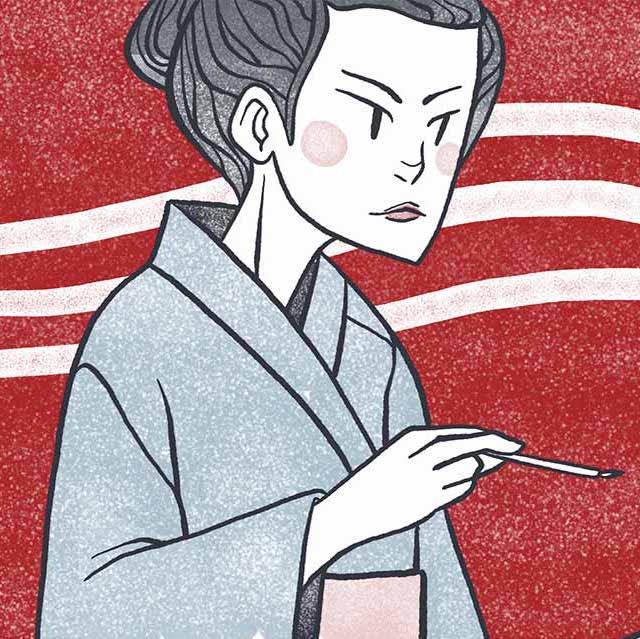higuchi ichiyo writing short stories at her desk