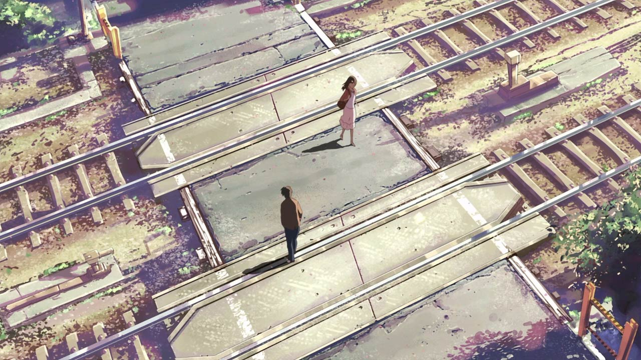 anime background of train tracks in japan