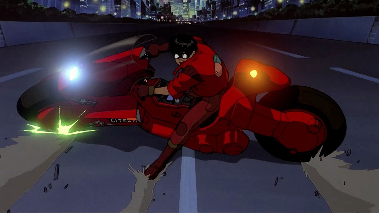 kaneda riding his read bike in the best anime movie