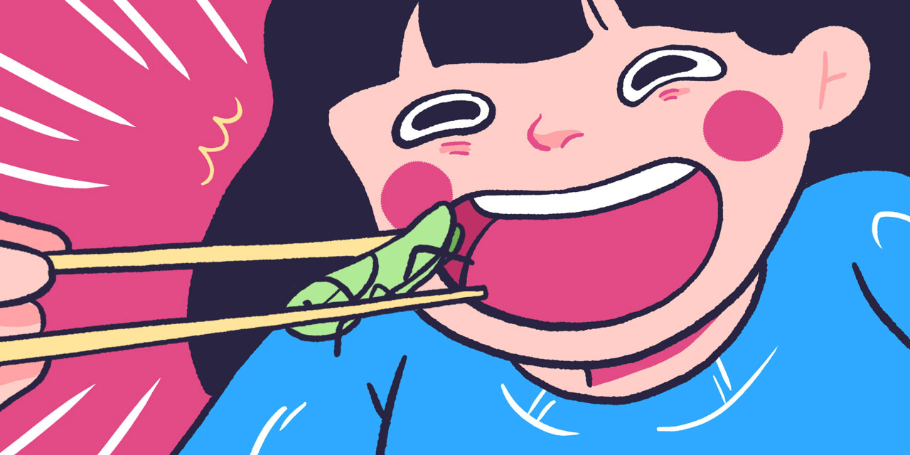 japanese woman happily eating a bug