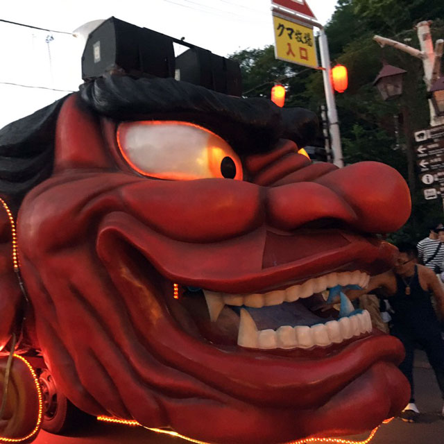 giant oni float at the hell matsuri at noboribetsu onsen