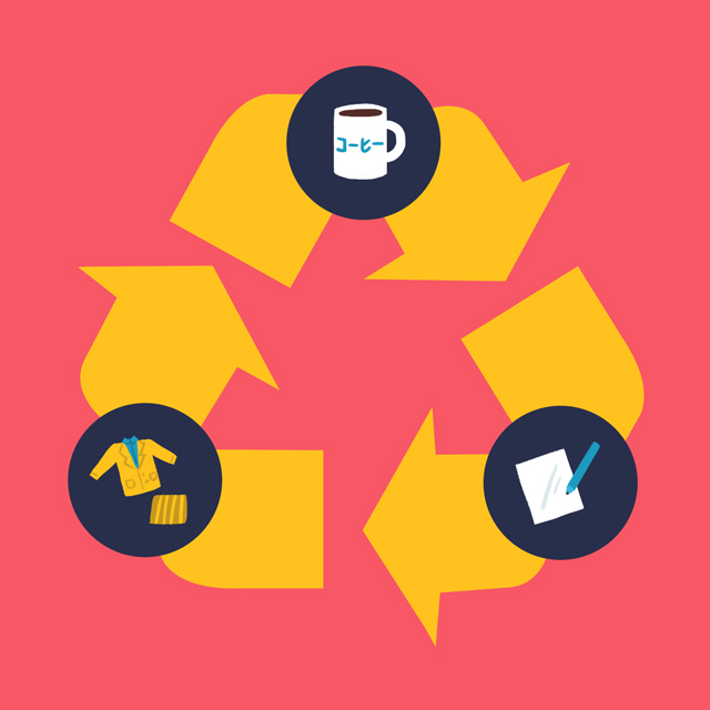 cycle of job hunting in japan on recycling symbol