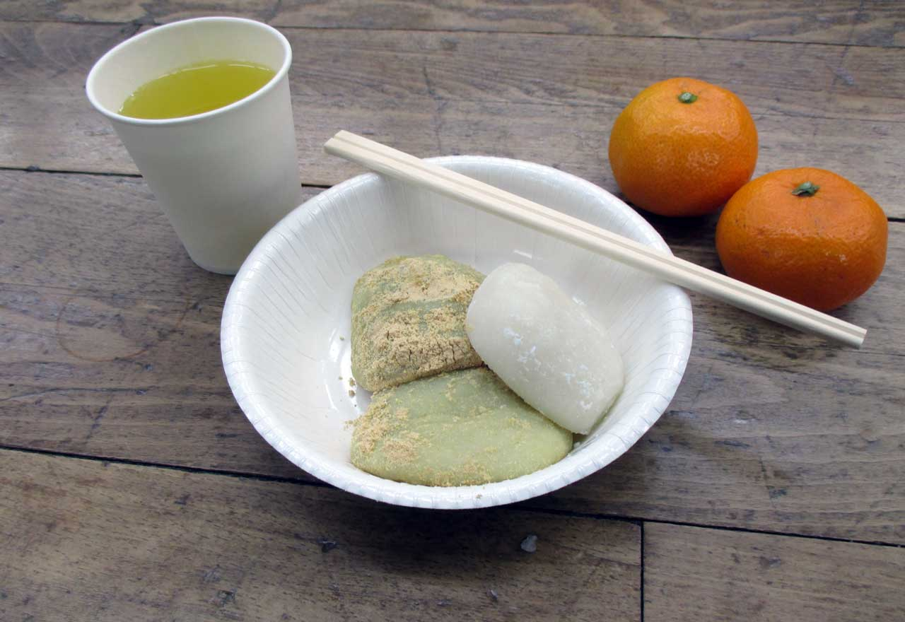 finished mochi with mikan and green tea