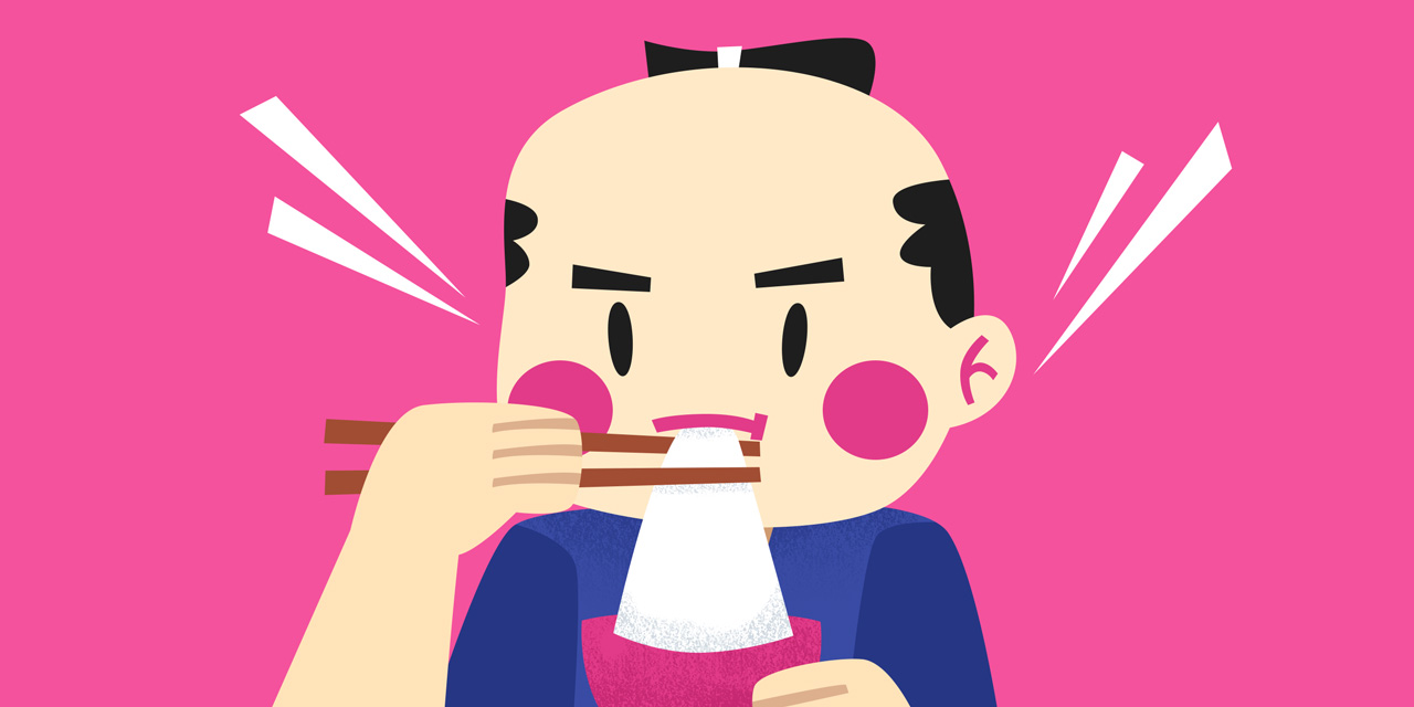 samurai eating mochi from a bowl