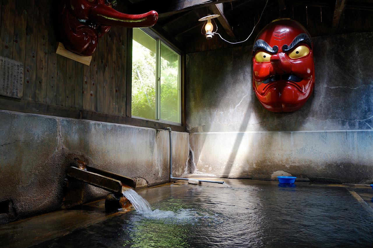 tengu mask in a japanese hot spring
