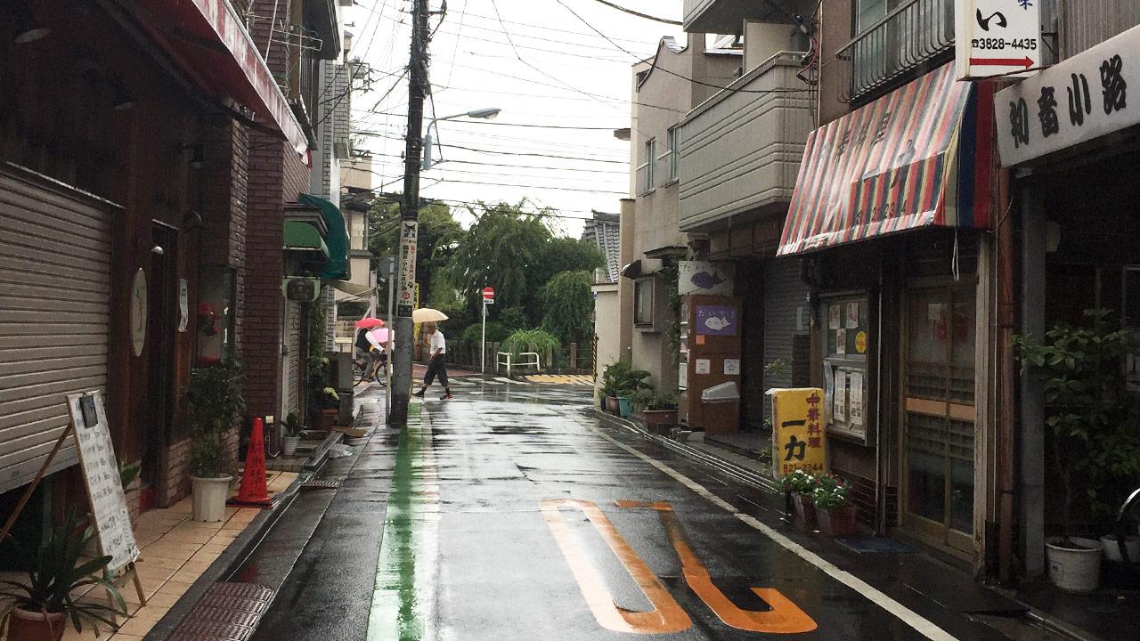 wet streets of yanaka tokyo