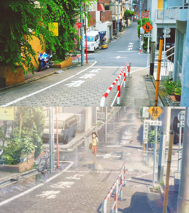 comparison of images from tokyo and your name anime