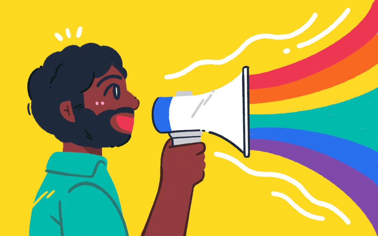 rainbow megaphone