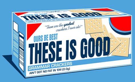 saltine cracker box with poor grammar