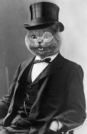 cat with top hat and monocle