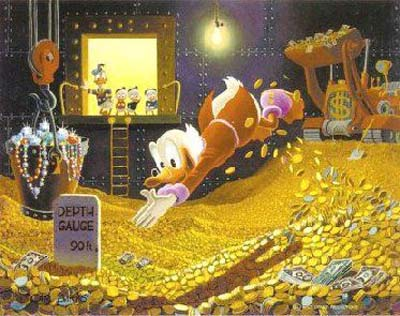 cartoon duck diving into gold coins