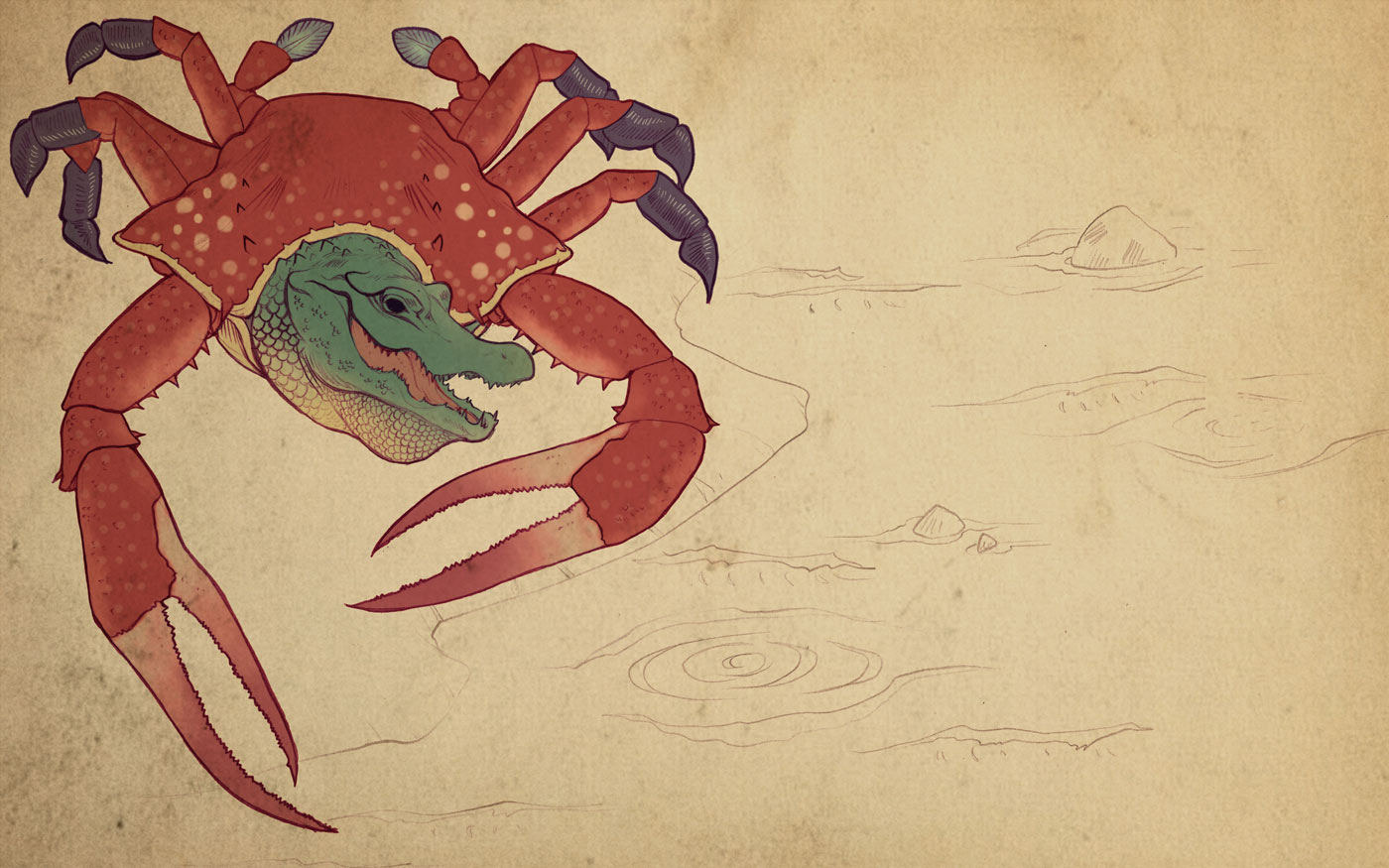 japanese art alligator crab mashup wanikani
