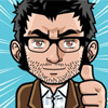 Cartoon image of a man with glasses giving a thumbs up