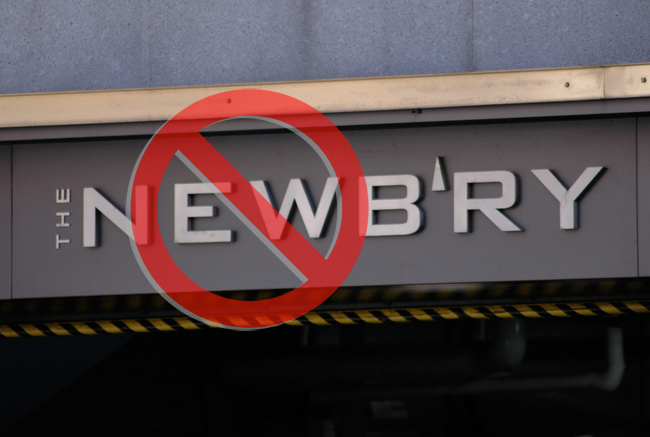Sign for The Newbry with a 'no' symbol over it