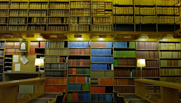 bookshelves in the Edinburgh library