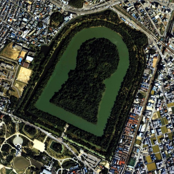 japan kofun giant keyhole shaped moat castle