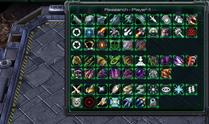 A view of the Starcraft 2 Japanese Learning Upgrade Menu