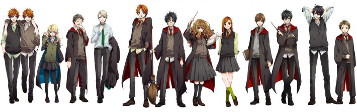 The cast of Harry Potter styled as anime