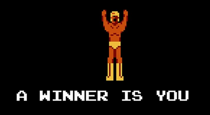 A pixel wrestler saying A winner is you