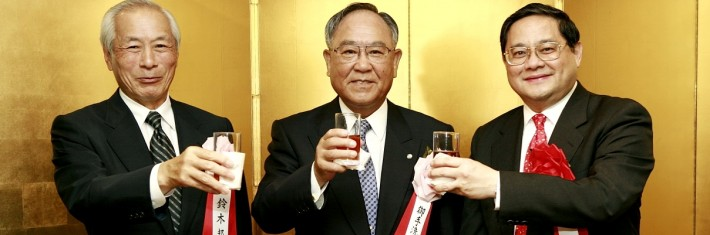 Japanese businessmen toast