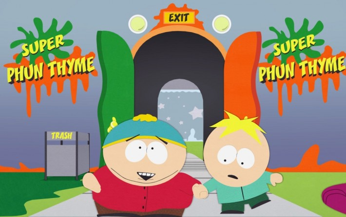 Cartman from South Park entering Super Phun Thyme