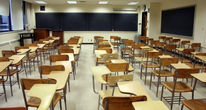 An empty Japanese classroom