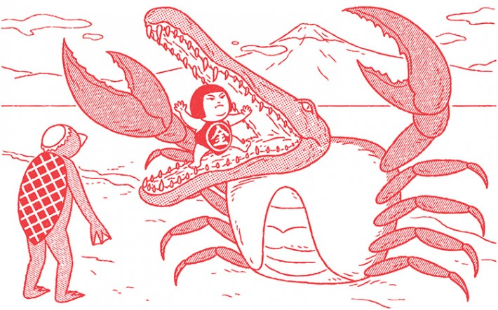 girl fighting off an aligator with the body of a crab