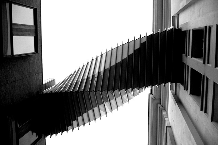 black and white twisted staircase midair