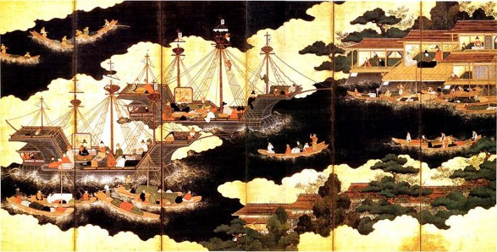 painting of Portuguese ships arriving in Japan