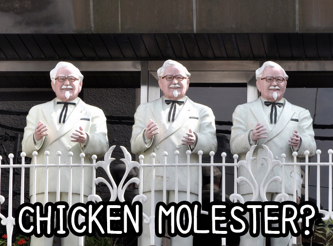 Colonel Sanders statues that might be chicken molesters