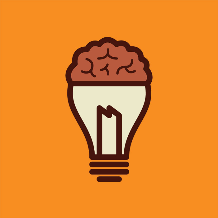 Vector graphic of a lightbulb merged with a brain