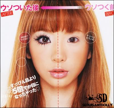 A girl with gyaru makeup on half her face