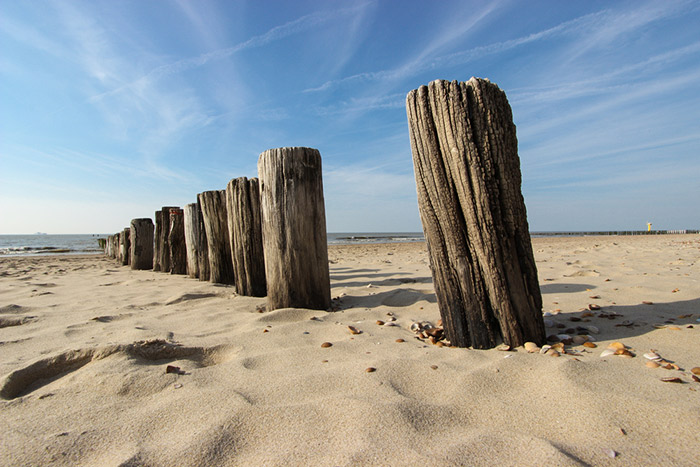 Large wooden sakes in the sand at a beach