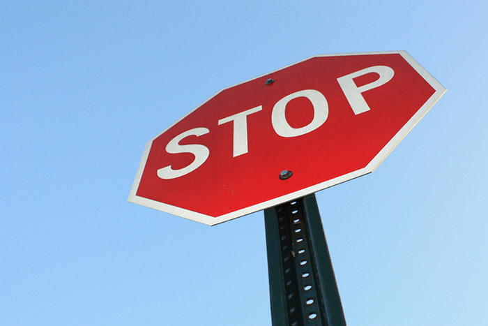 Stop sign seen from below