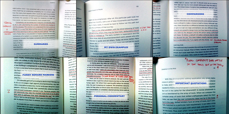 pictures of highlighted passages demonstrating speed reading technique
