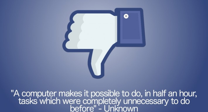 thumbs down icon and quote about computers