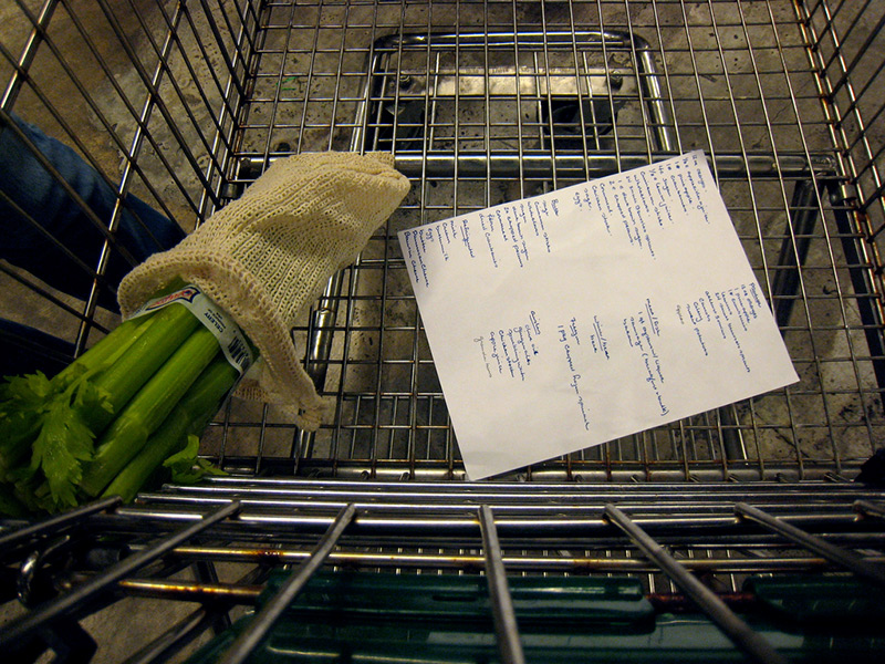 list and vegetable in shopping cart