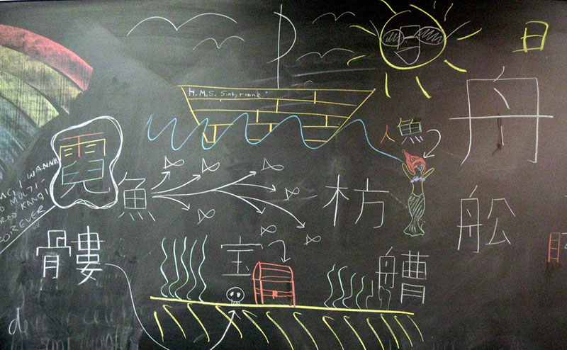 japanese writing on chalkboard