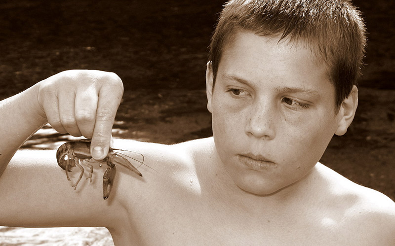 boy with a crawdad kobun adjectives