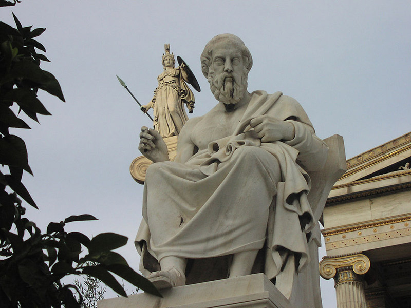 A statue of Socrates seated