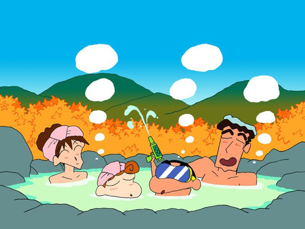 illustration of family in hot spring