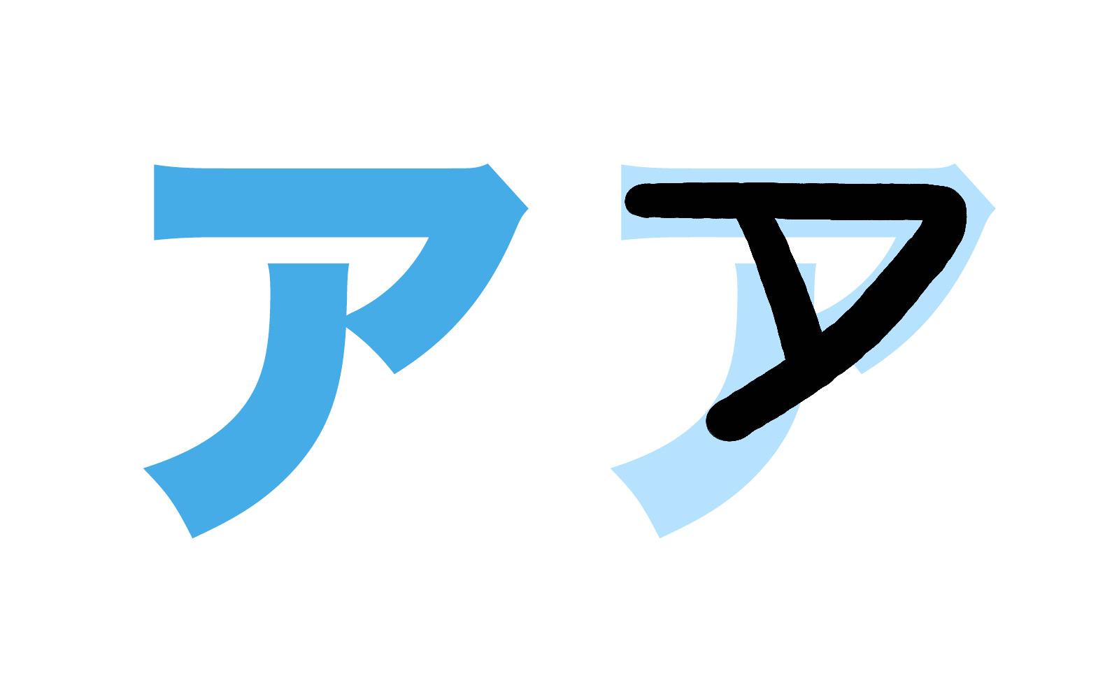 Katakana character ア mnemonic