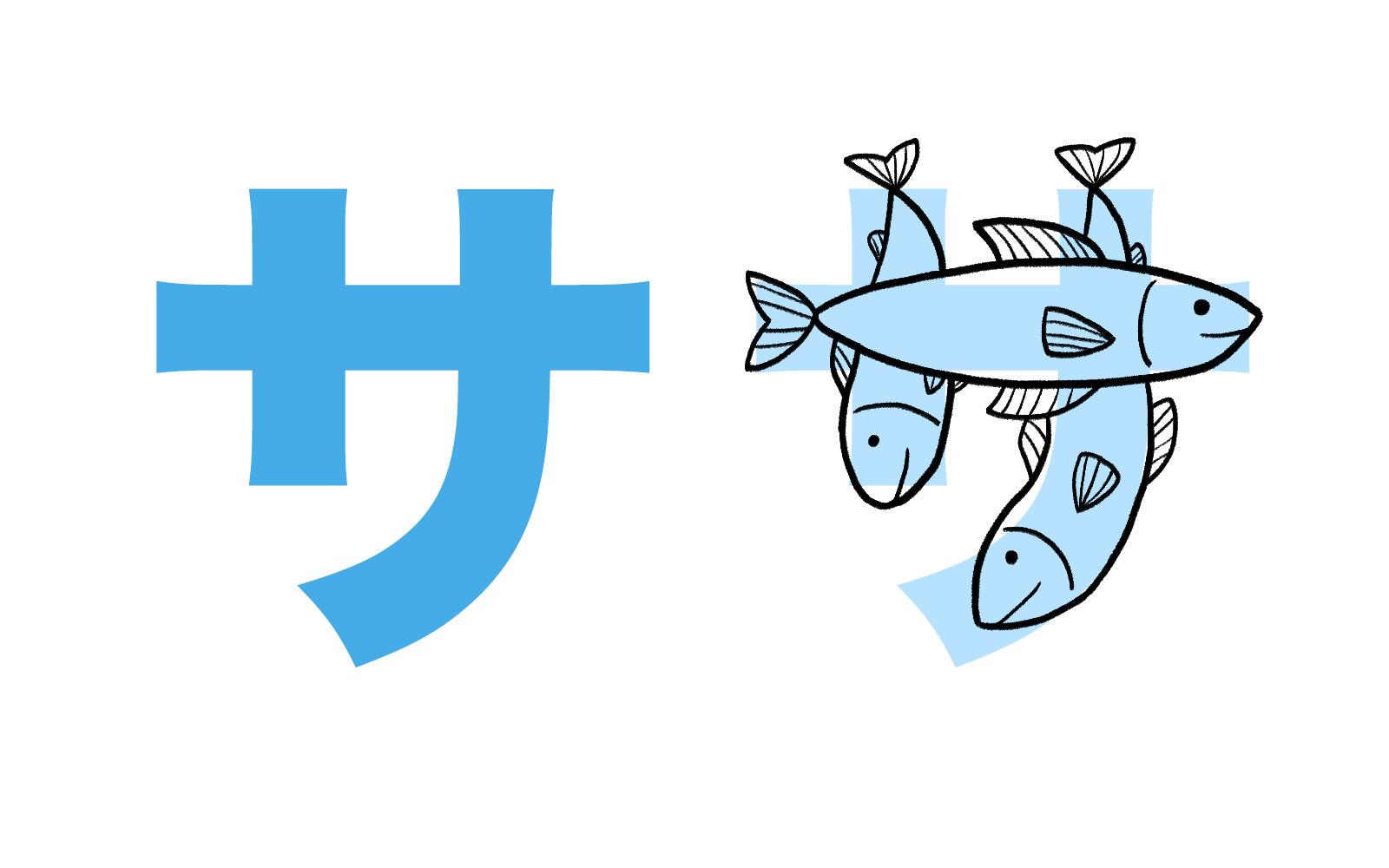 Katakana character サ mnemonic