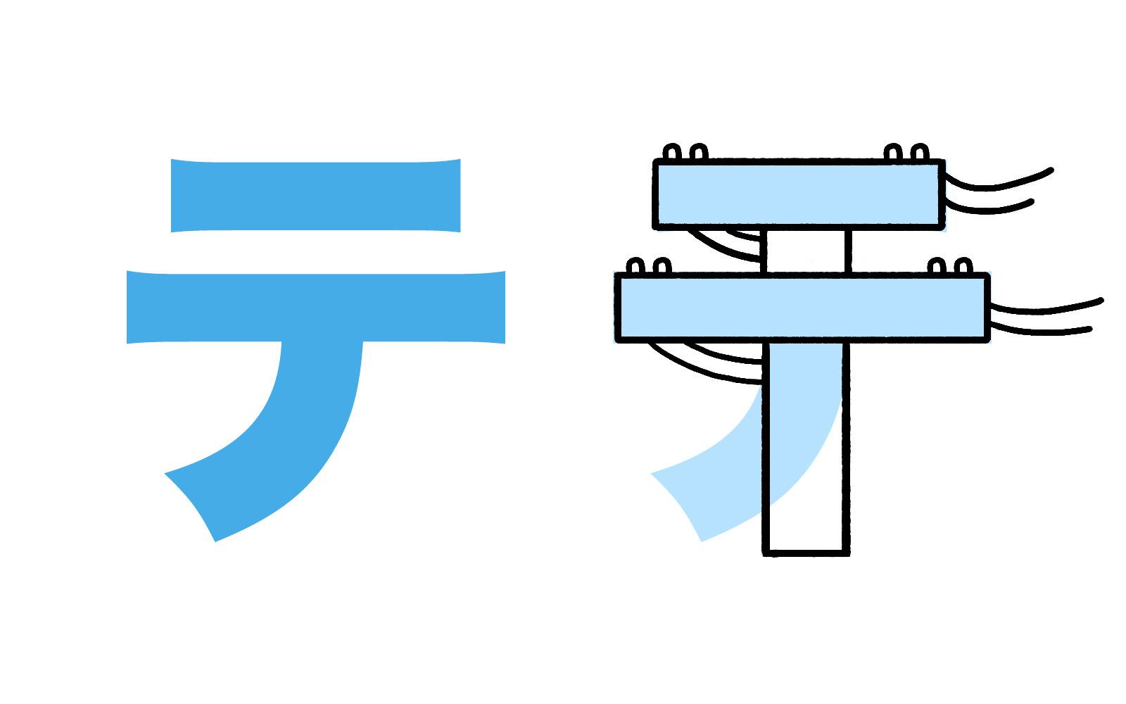 Katakana character テ mnemonic
