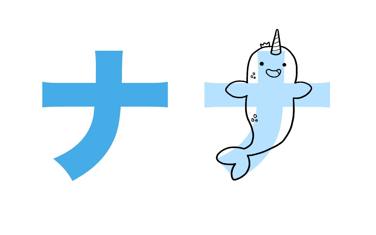 Katakana character ナ mnemonic