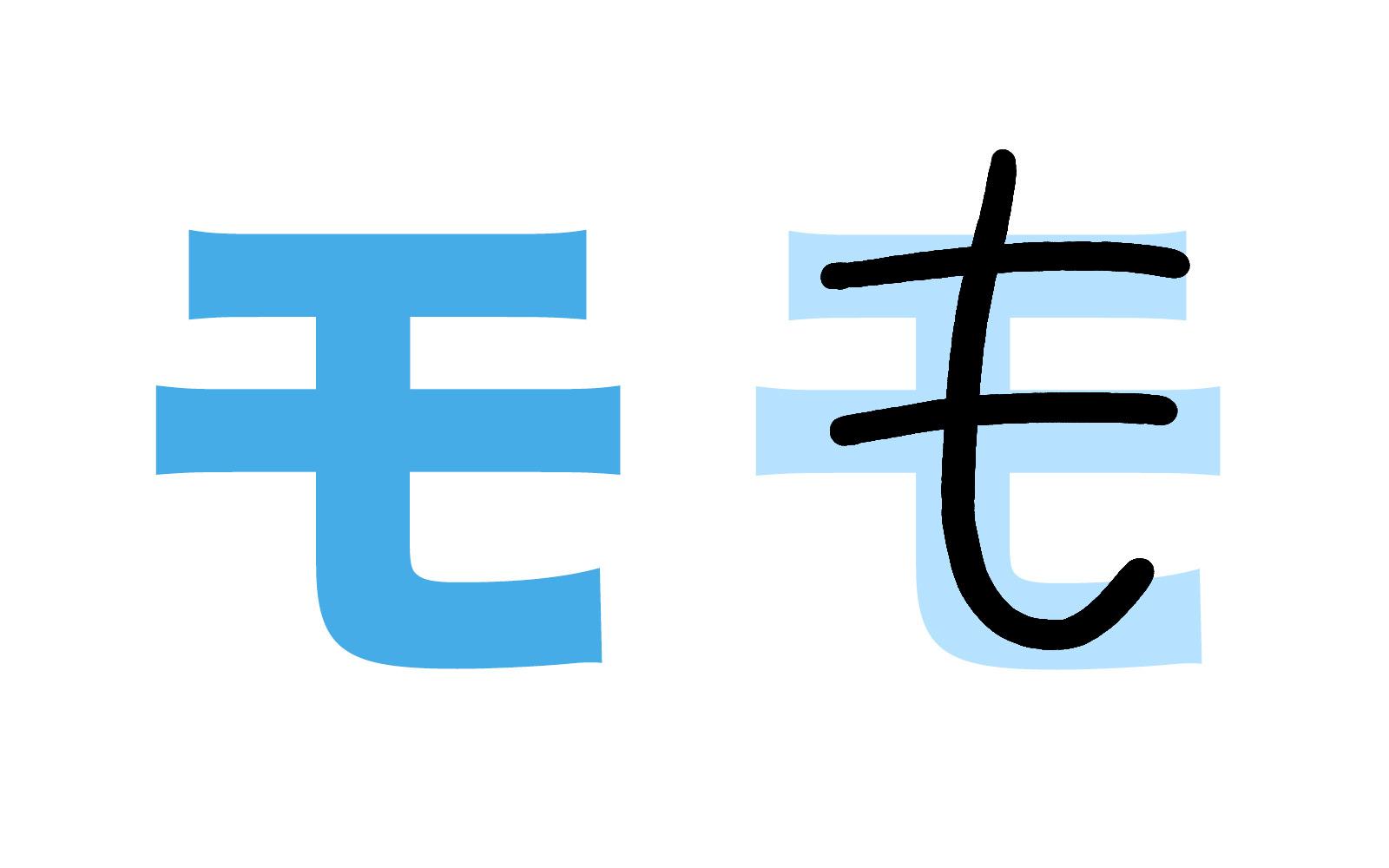Katakana character モ mnemonic
