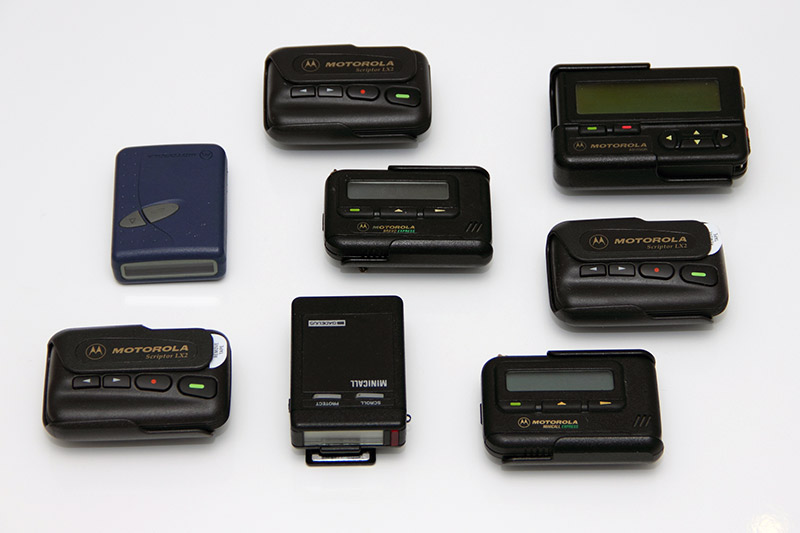 an assortment of different pagers