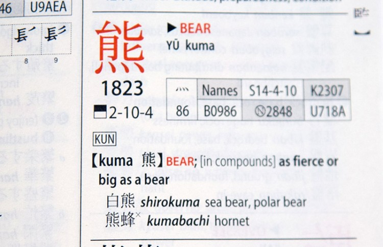 kodansha kuma entry details how to use a kanji dictionary